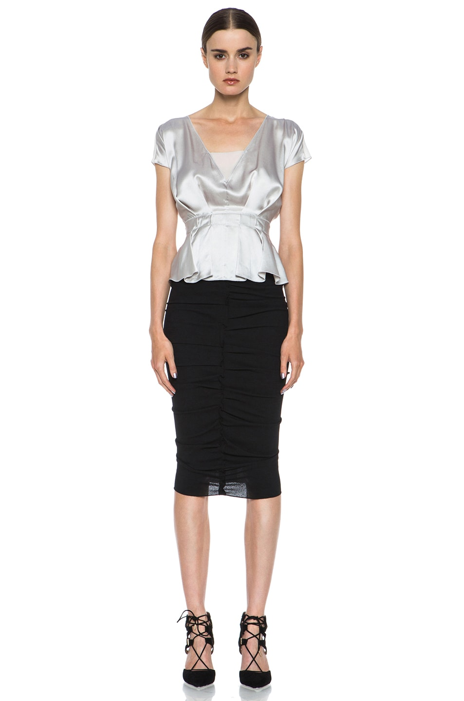 Image 5 of Nina Ricci Poly Pencil Skirt in Black