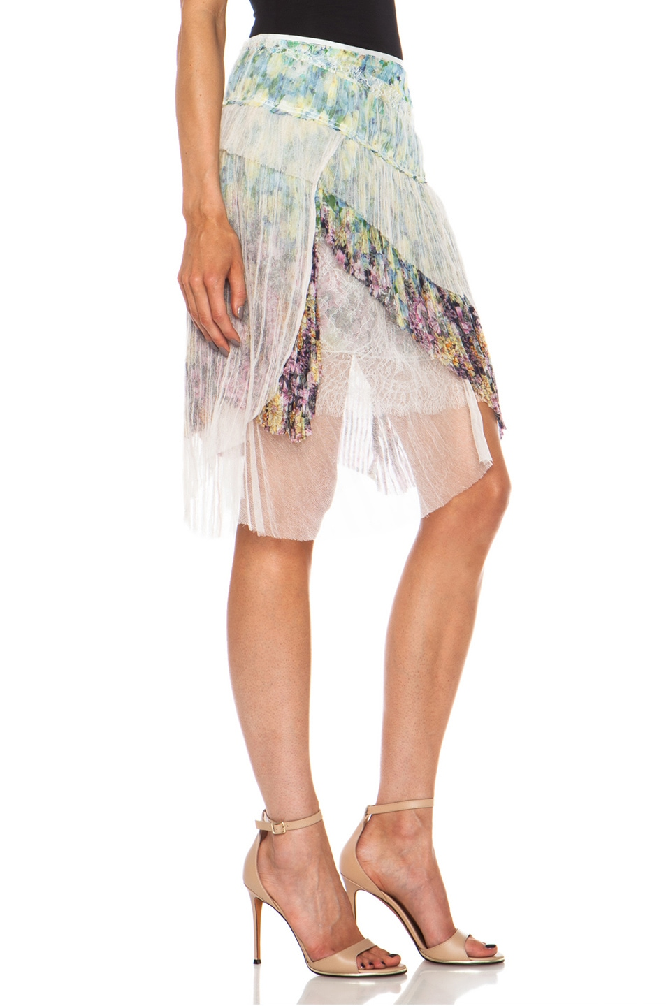 Image 3 of Nina Ricci Tiered Ruffle Silk Skirt in Multi