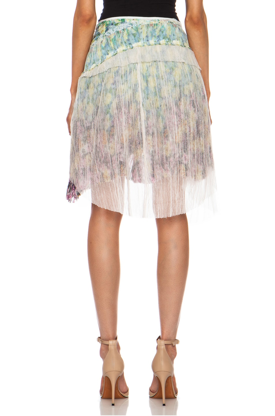 Image 4 of Nina Ricci Tiered Ruffle Silk Skirt in Multi