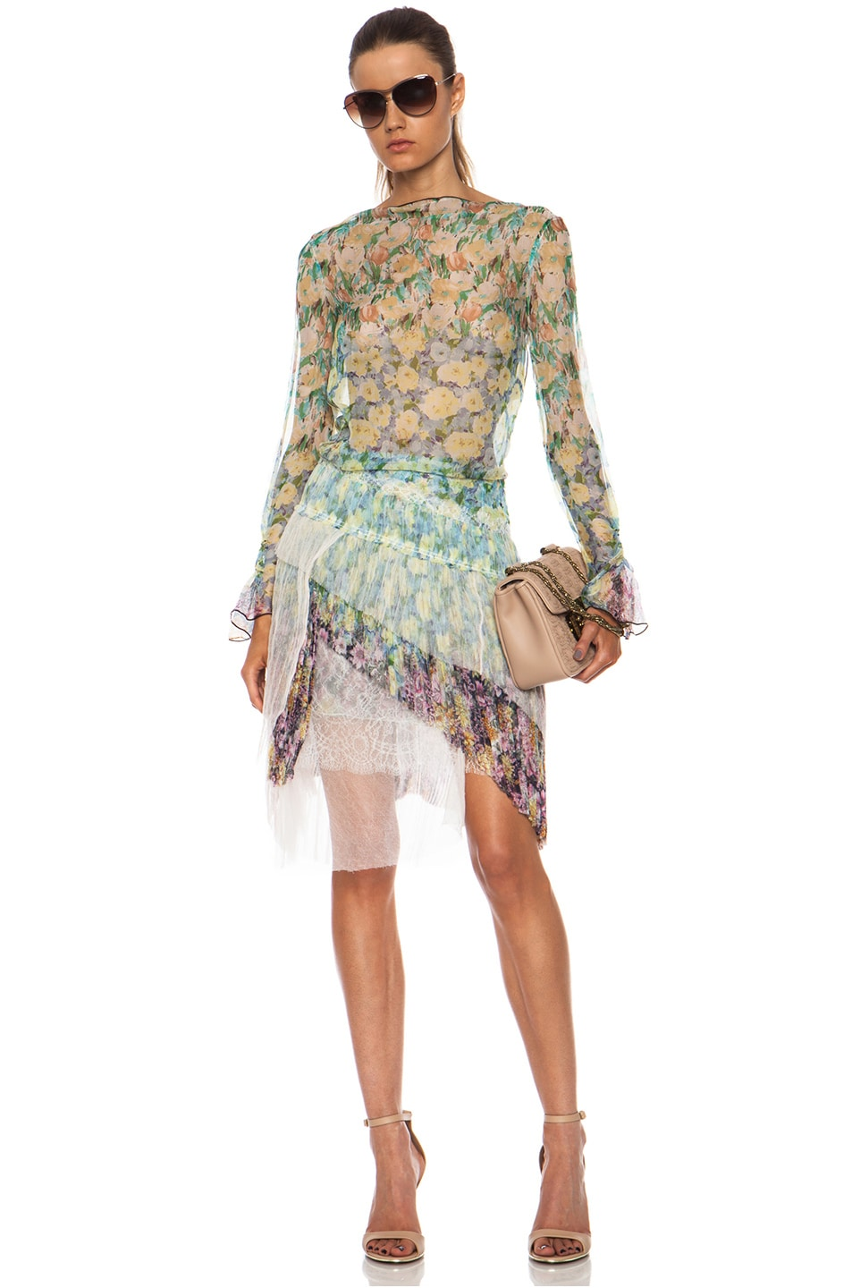 Image 5 of Nina Ricci Tiered Ruffle Silk Skirt in Multi