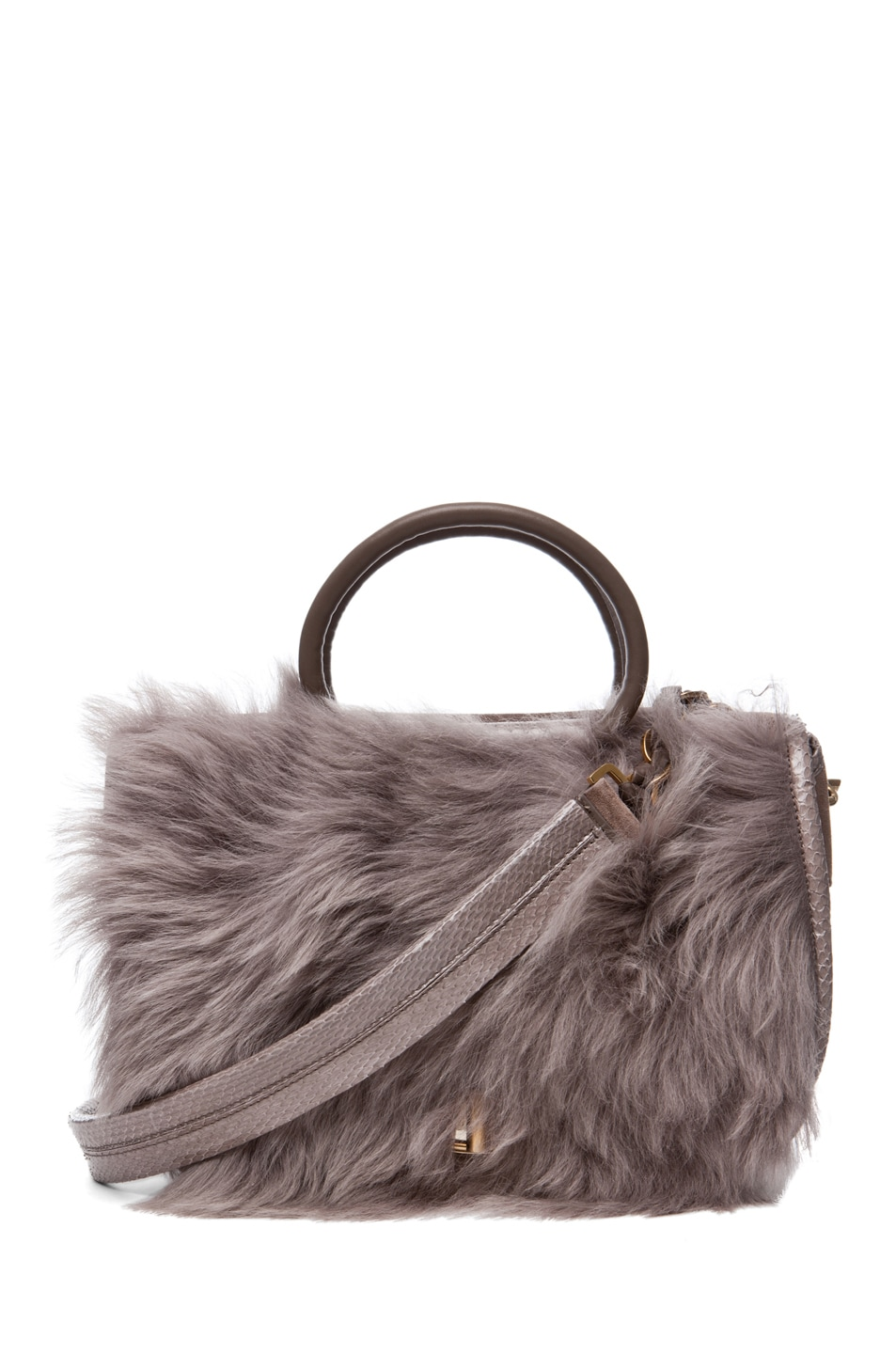 Image 1 of Nina Ricci Fur and Watersnake Bracelet Bag in Taupe