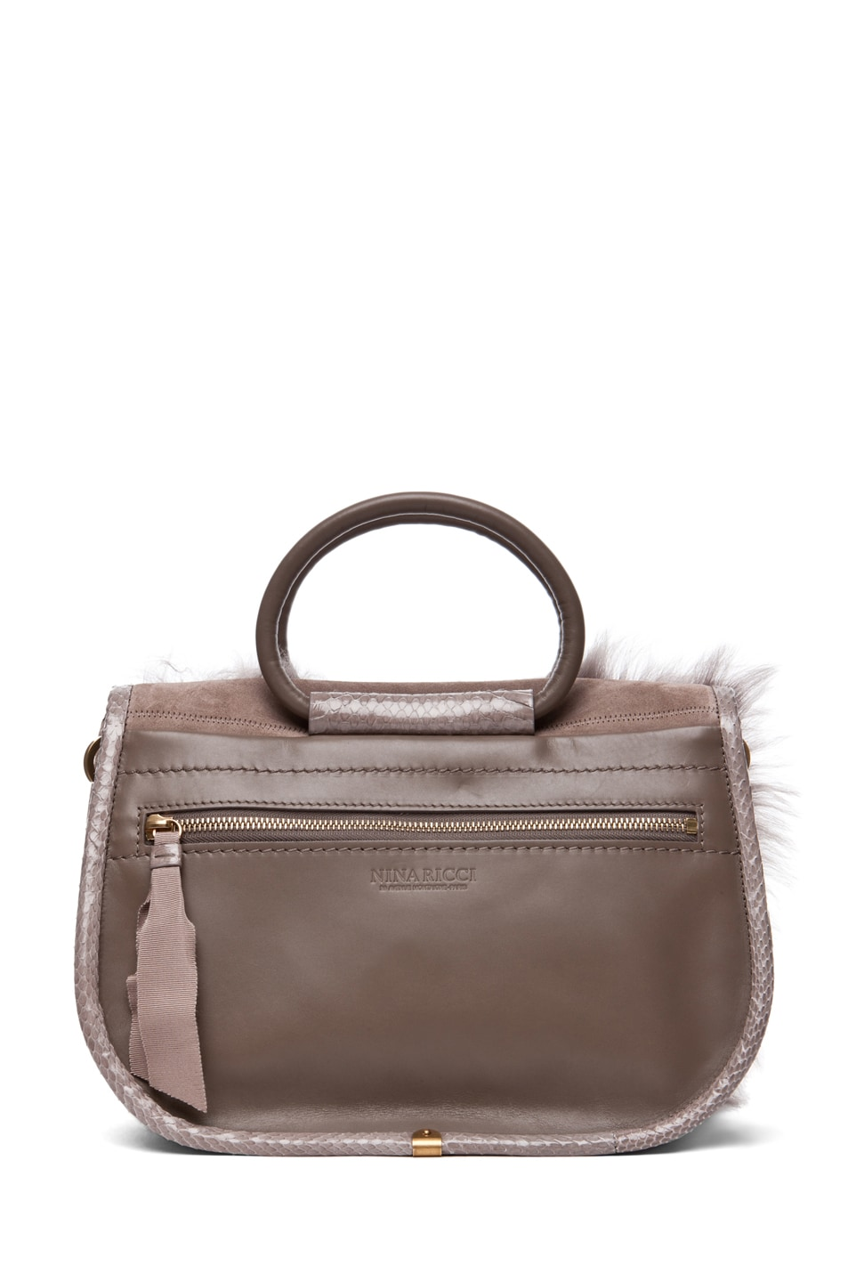Image 2 of Nina Ricci Fur and Watersnake Bracelet Bag in Taupe