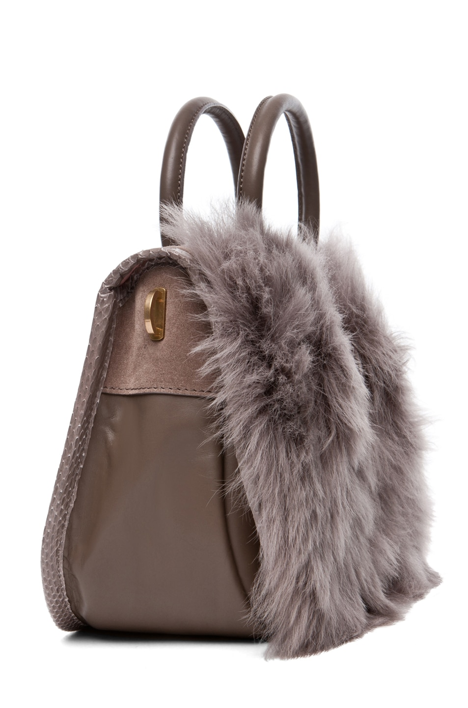 Image 3 of Nina Ricci Fur and Watersnake Bracelet Bag in Taupe