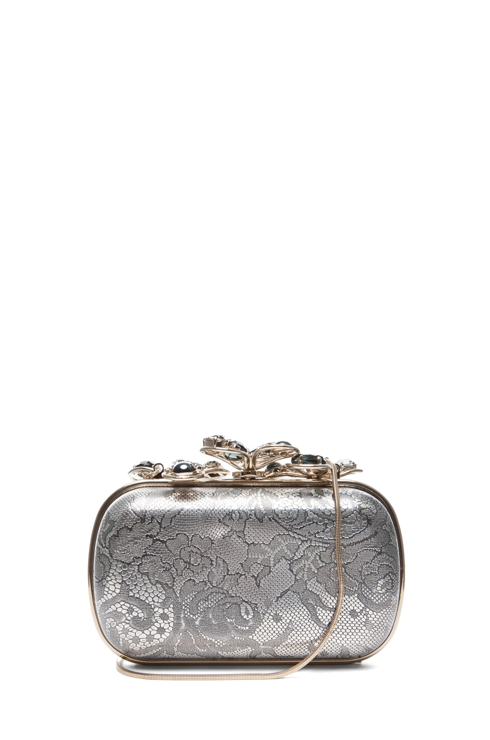 Image 1 of Nina Ricci Etched Clutch in Gold