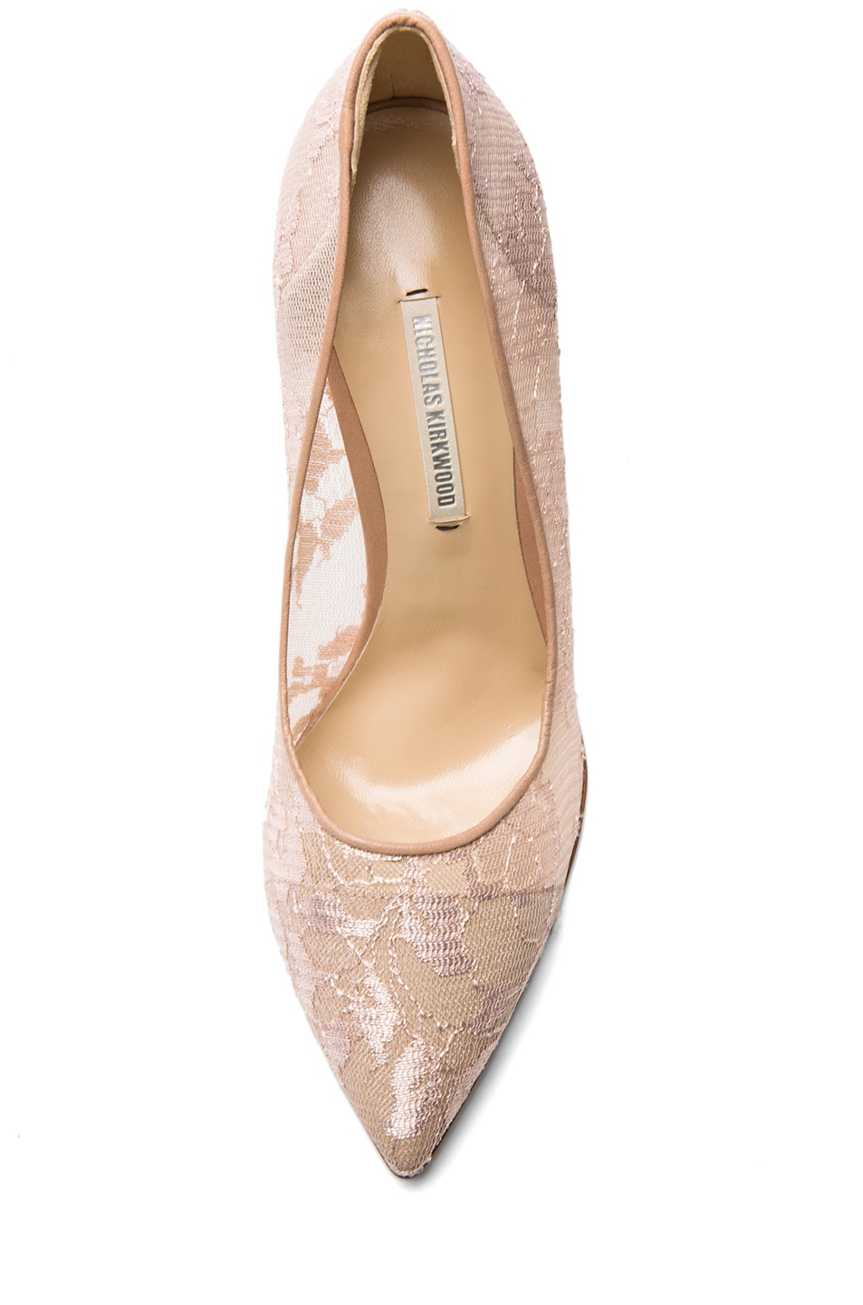 Image 4 of Nicholas Kirkwood Lace Pumps in Nude