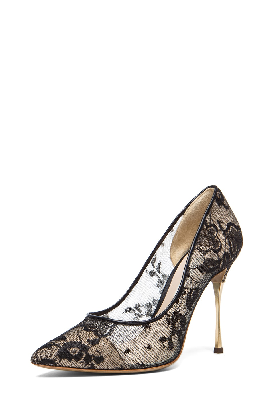 Image 2 of Nicholas Kirkwood Lace Pumps in Black