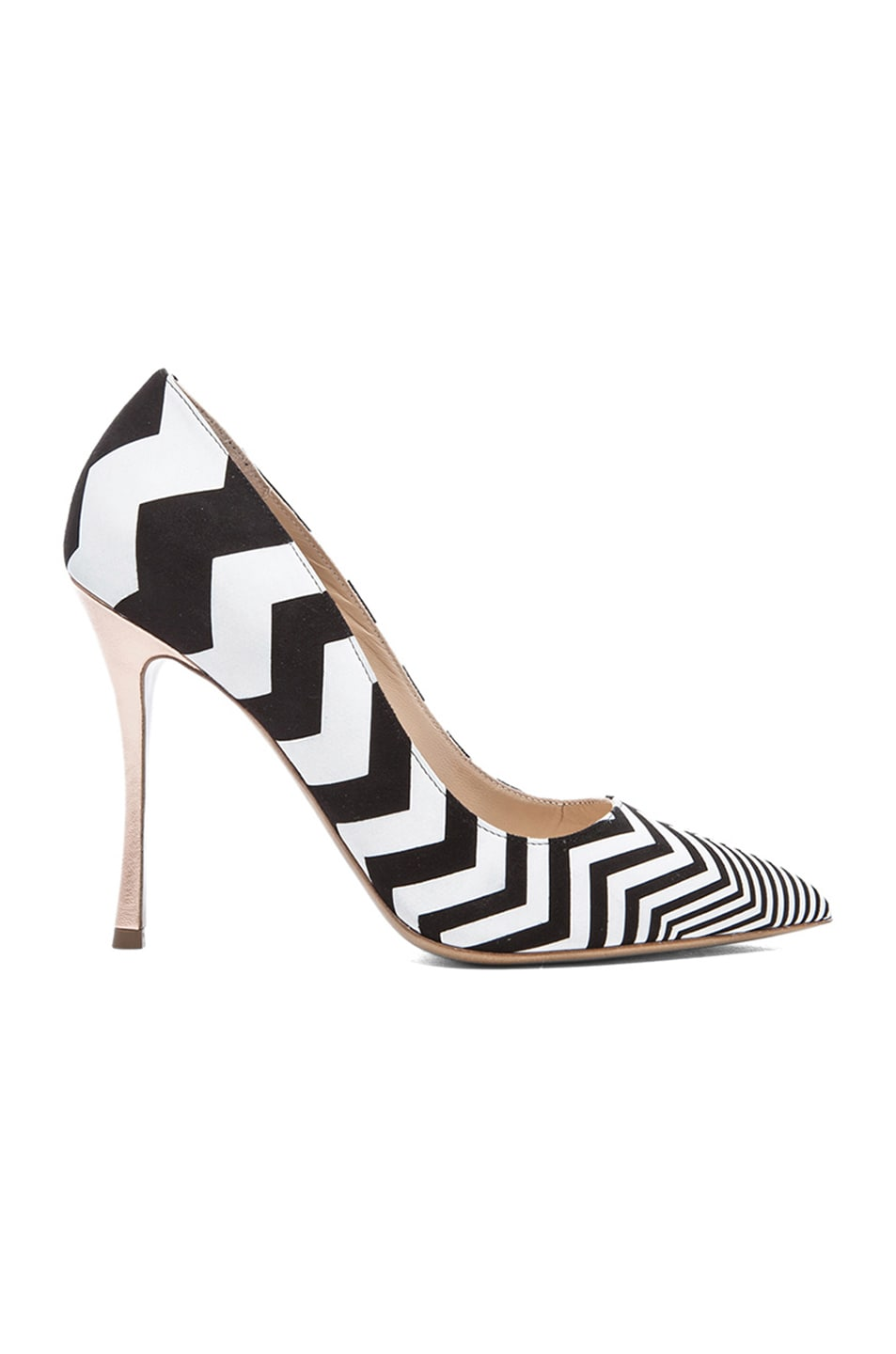 Image 1 of Nicholas Kirkwood Zig Zag Printed Suede Pumps in Black & White