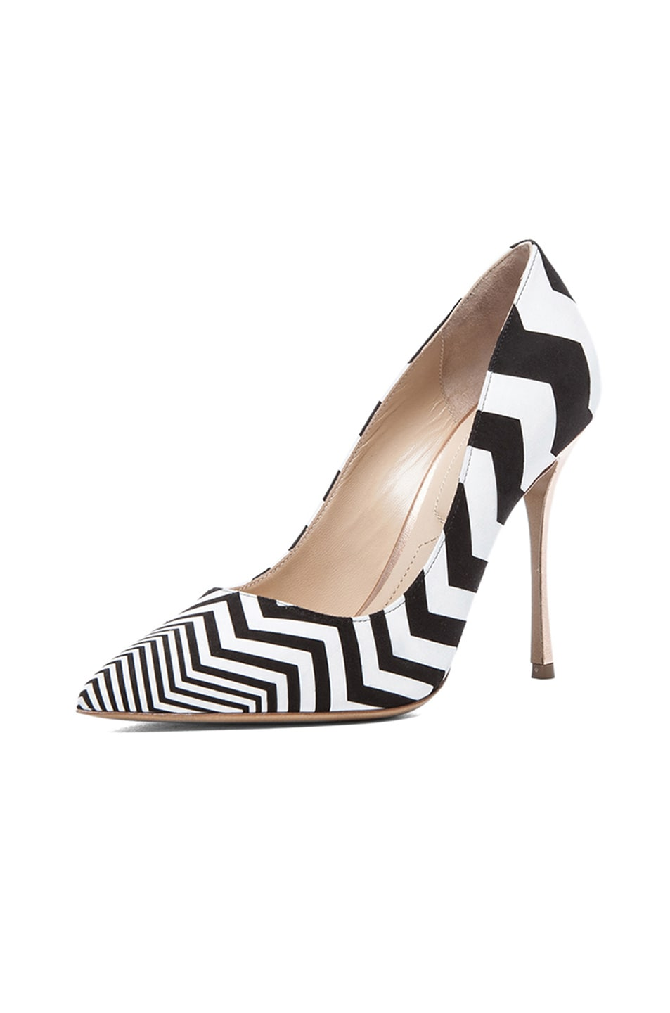 Image 2 of Nicholas Kirkwood Zig Zag Printed Suede Pumps in Black & White