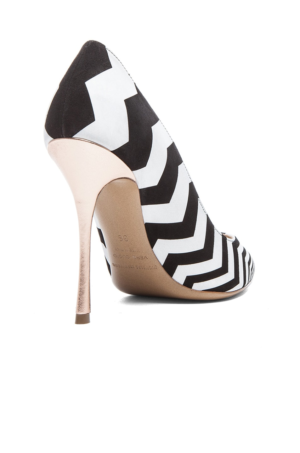Image 3 of Nicholas Kirkwood Zig Zag Printed Suede Pumps in Black & White