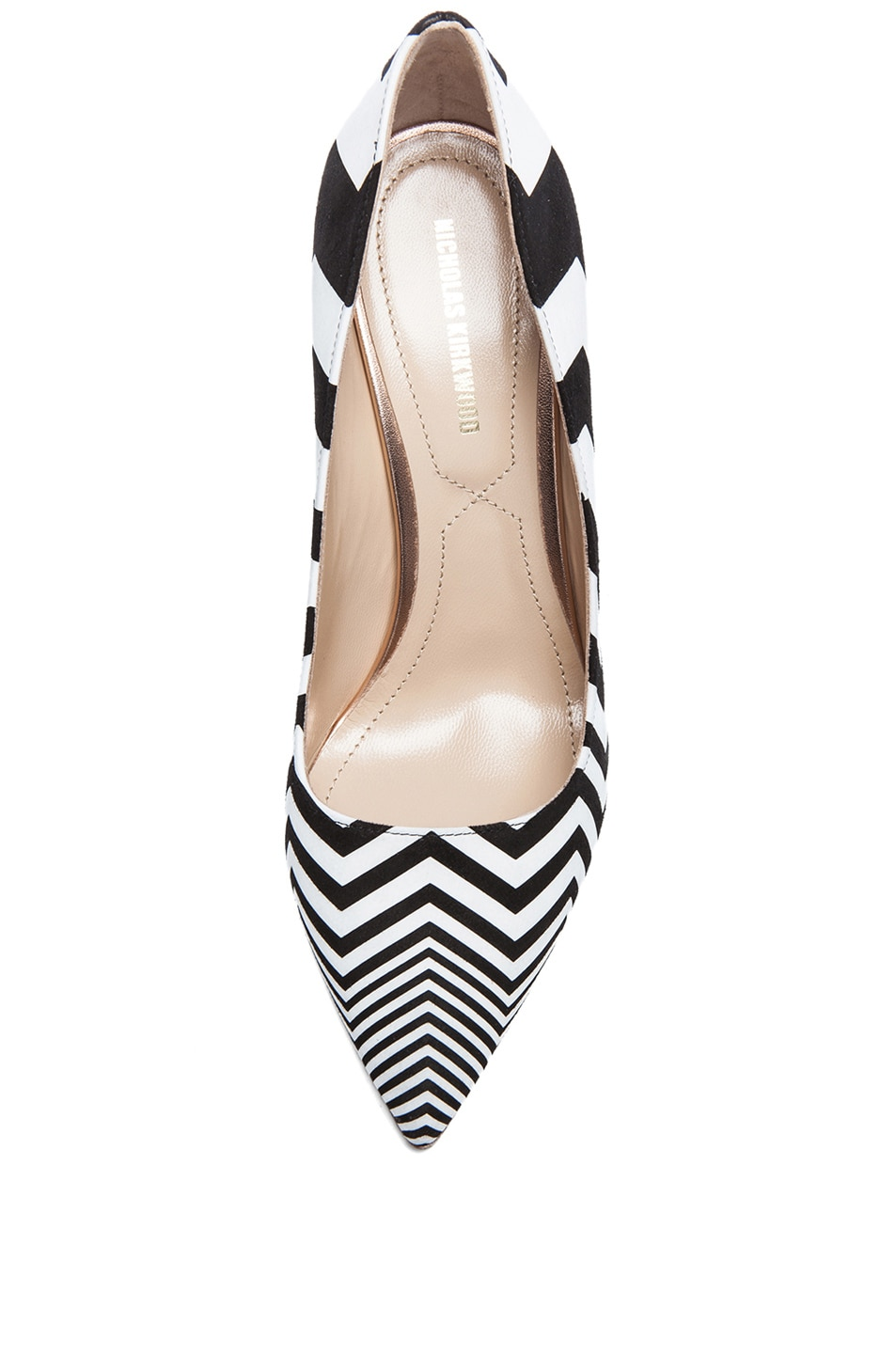 Image 4 of Nicholas Kirkwood Zig Zag Printed Suede Pumps in Black & White
