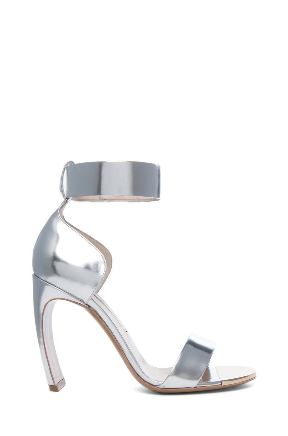Image 1 of Nicholas Kirkwood Curved Heel Leather Sandals in Silver