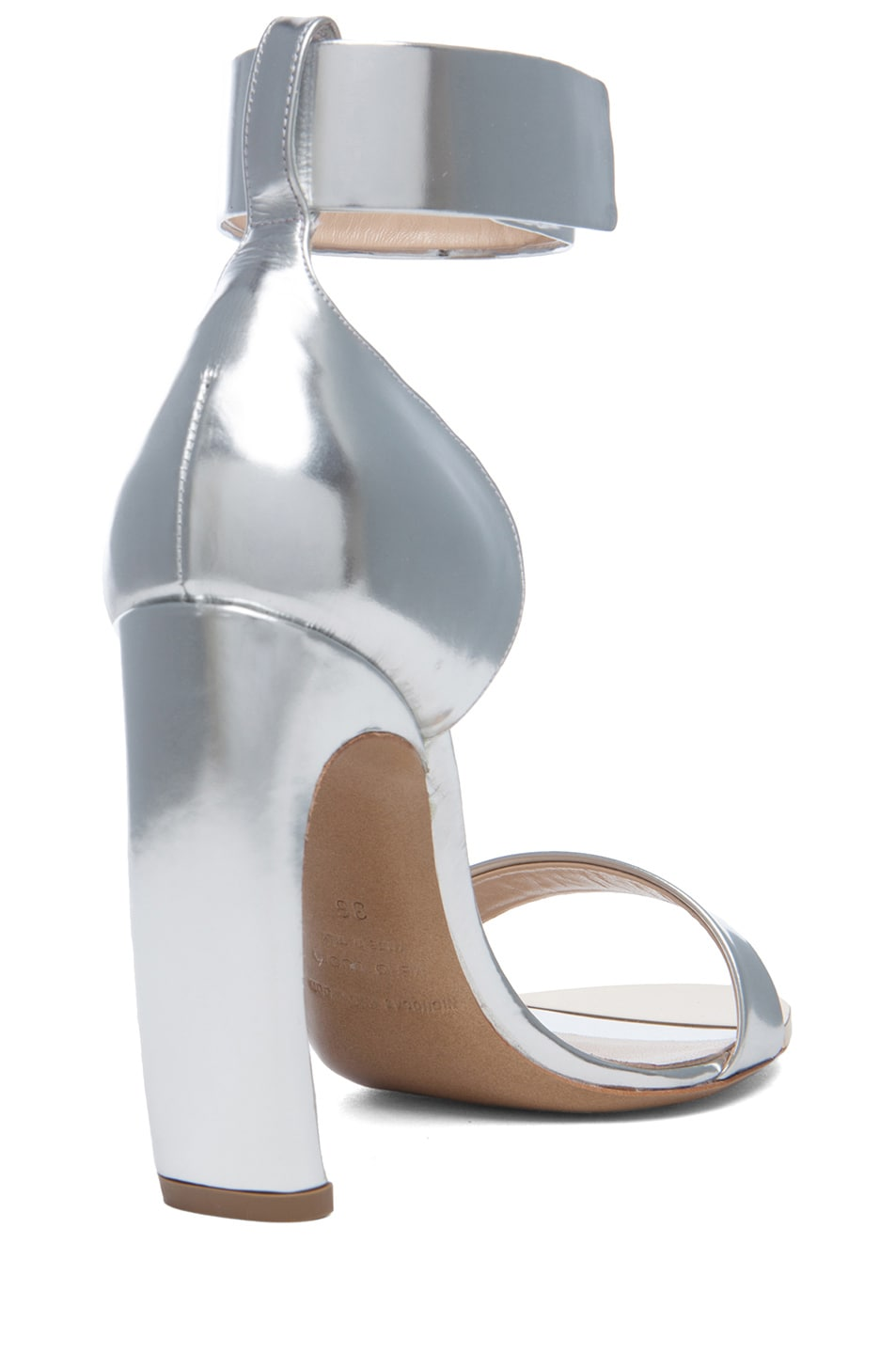 Image 3 of Nicholas Kirkwood Curved Heel Leather Sandals in Silver
