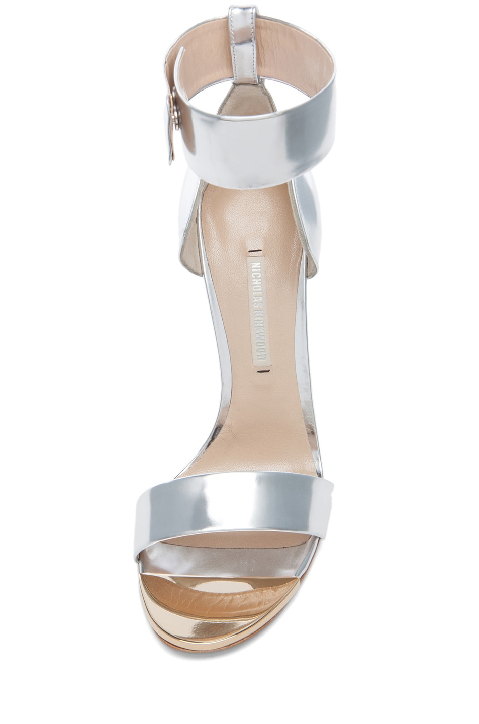 Image 4 of Nicholas Kirkwood Curved Heel Leather Sandals in Silver
