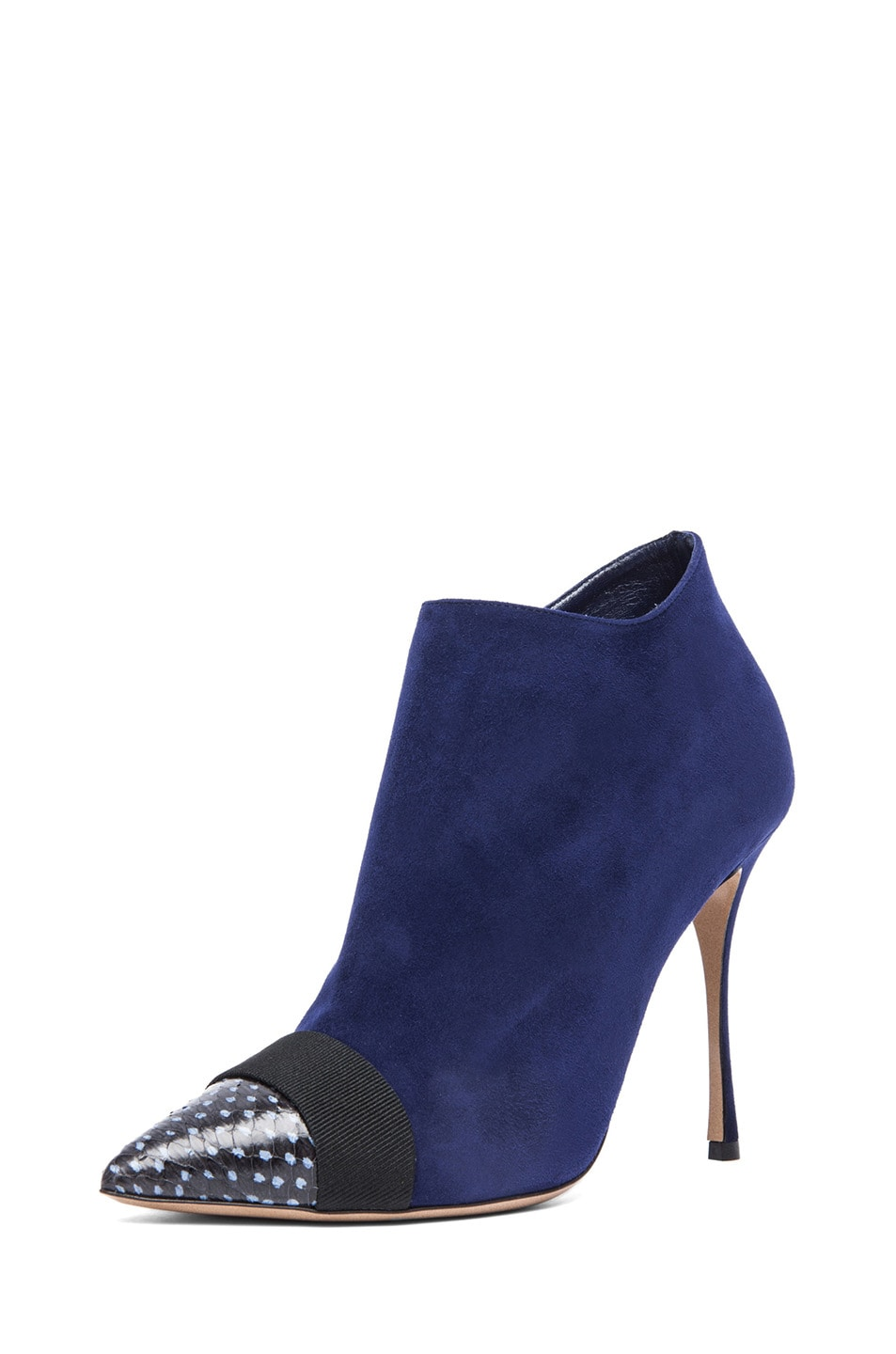 Image 2 of Nicholas Kirkwood Suede Ankle Boots in Black & Indigo