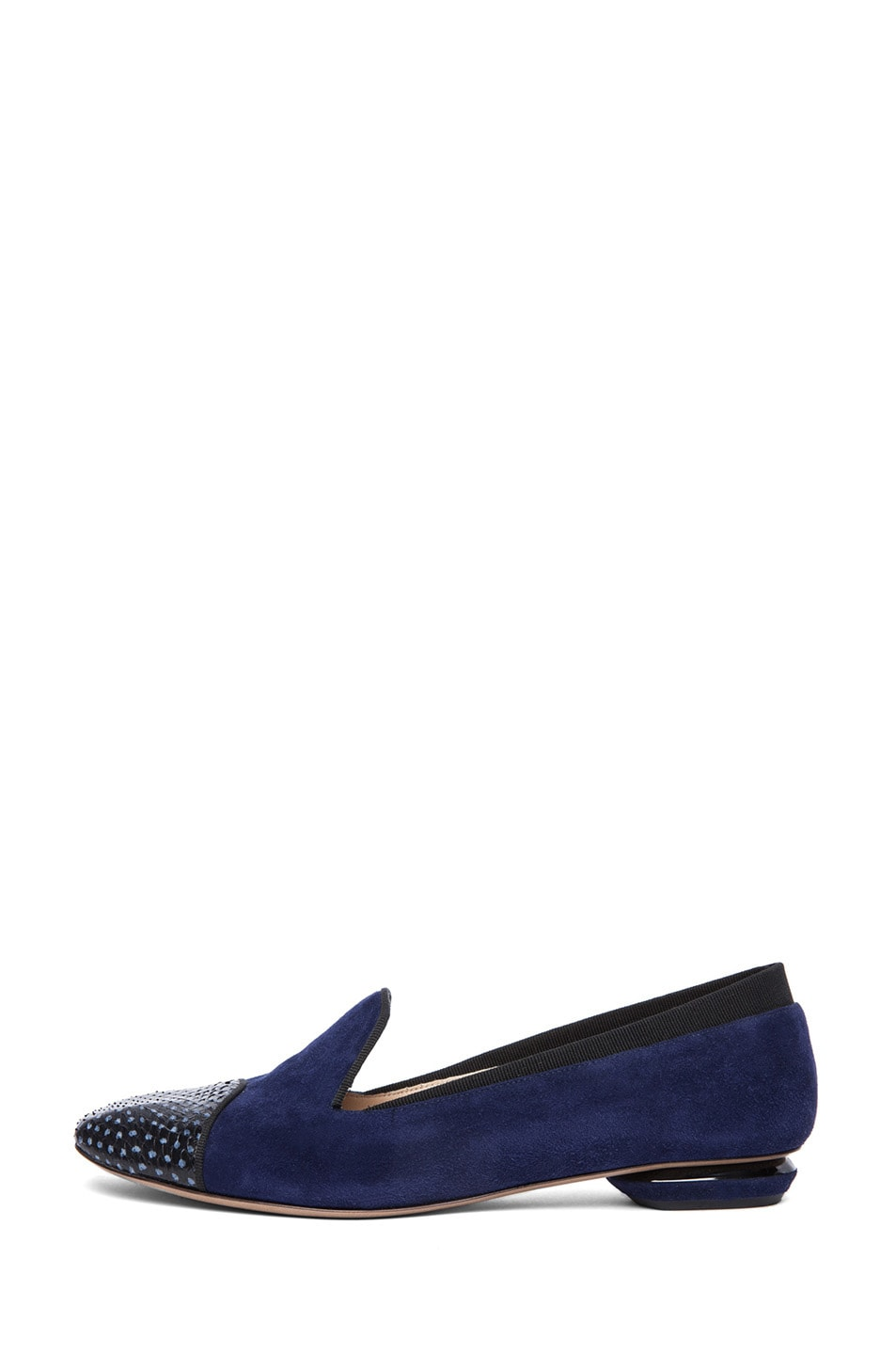 Image 1 of Nicholas Kirkwood Suede Loafers in Black & Indigo