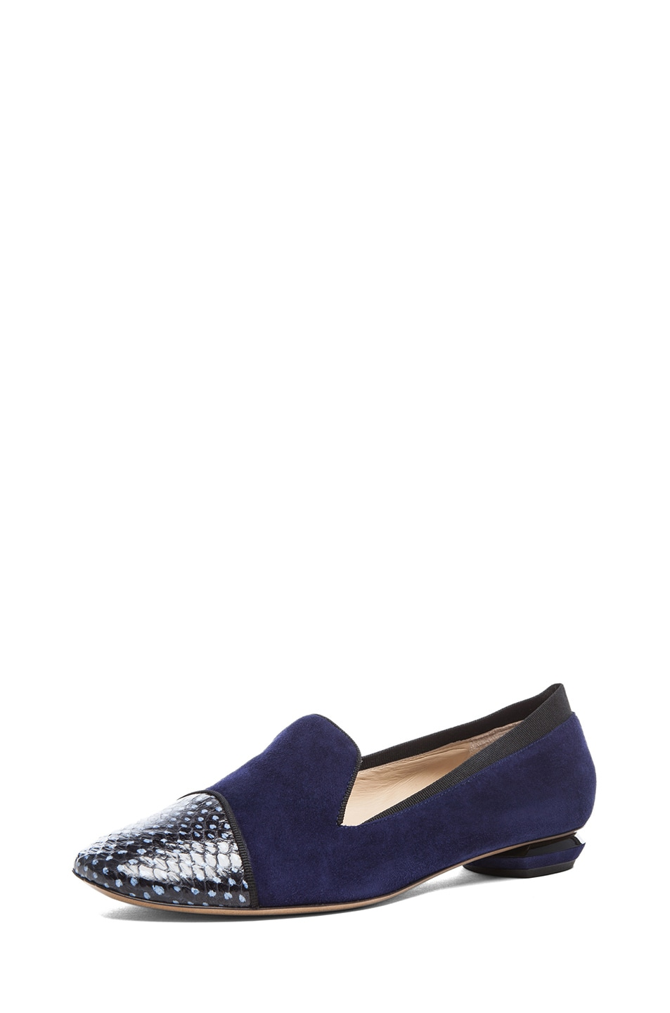 Image 2 of Nicholas Kirkwood Suede Loafers in Black & Indigo