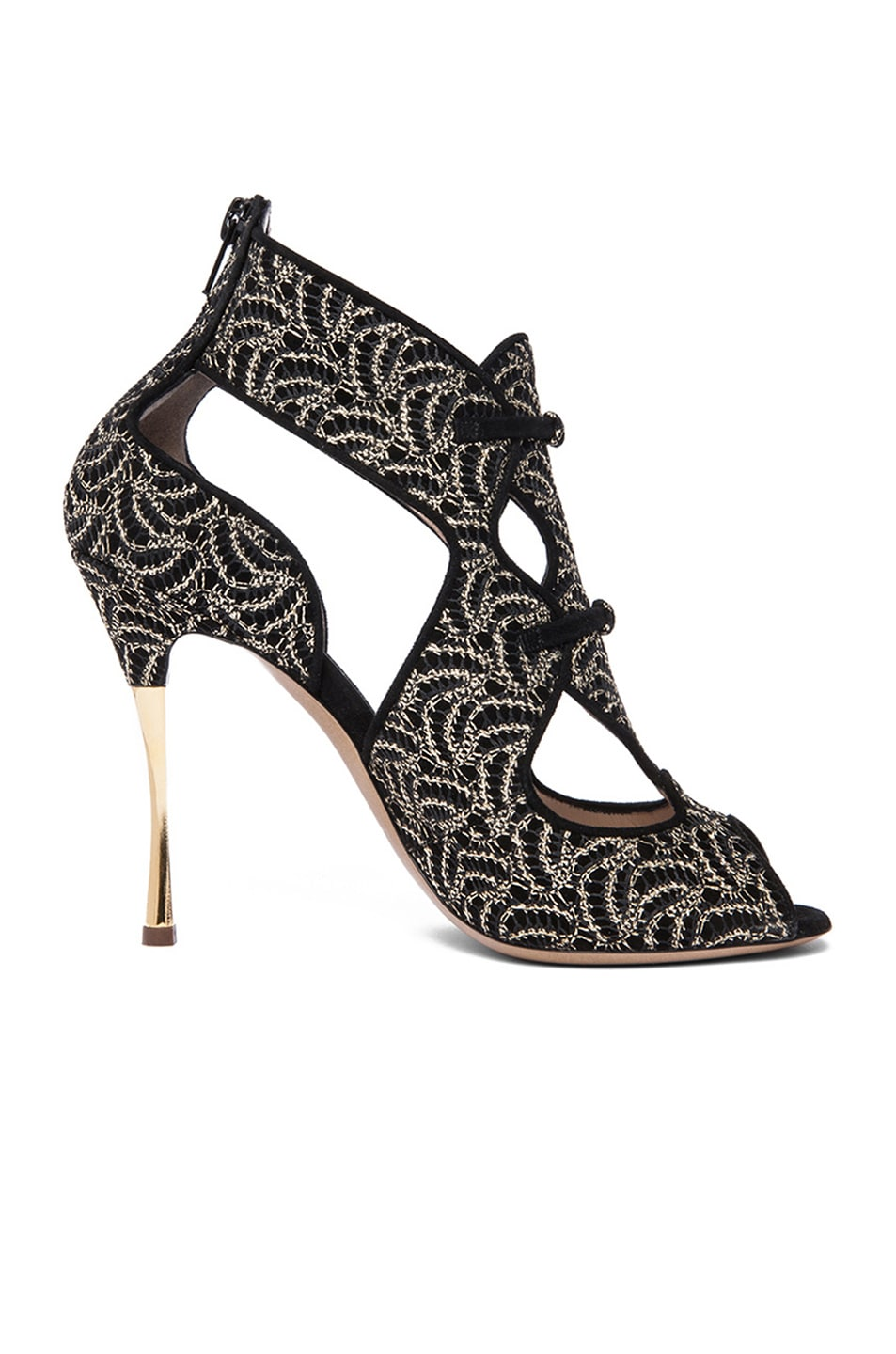 Image 1 of Nicholas Kirkwood Open Toe Cut Out Suede Heels in Gold & Black