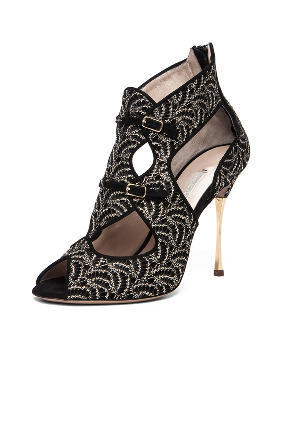 Image 2 of Nicholas Kirkwood Open Toe Cut Out Suede Heels in Gold & Black