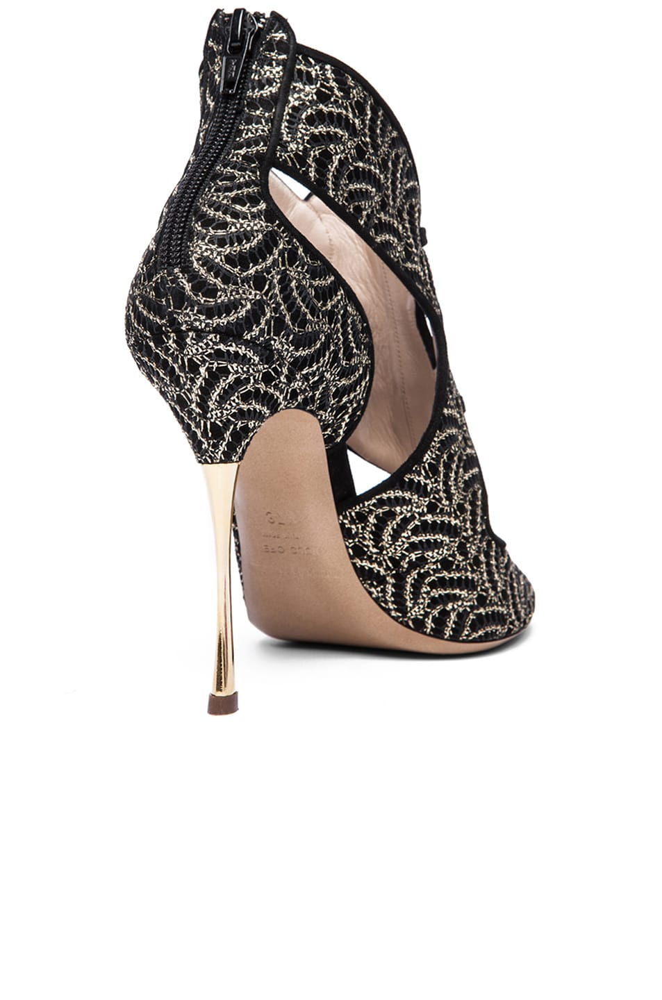 Image 3 of Nicholas Kirkwood Open Toe Cut Out Suede Heels in Gold & Black