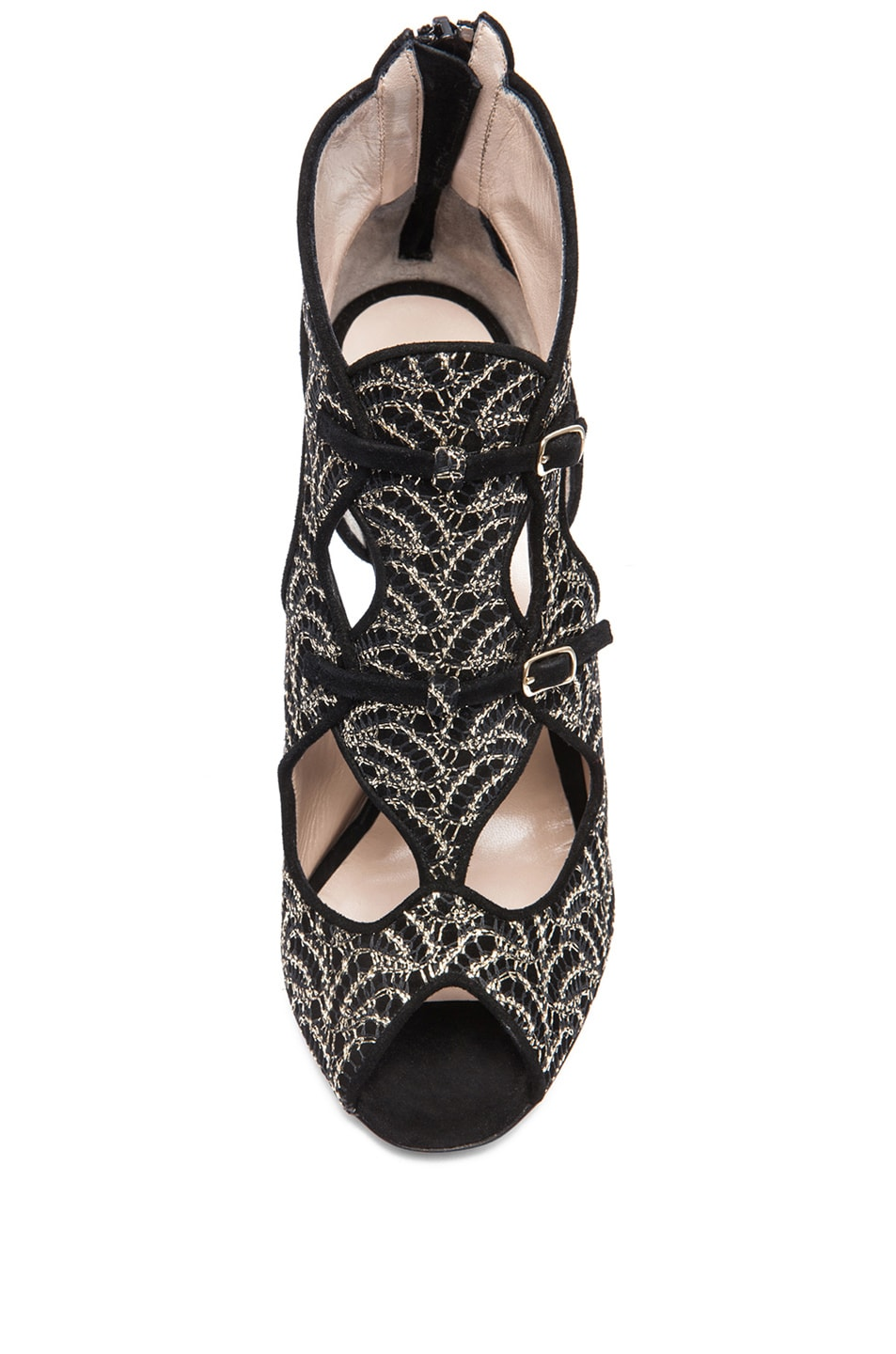 Image 4 of Nicholas Kirkwood Open Toe Cut Out Suede Heels in Gold & Black