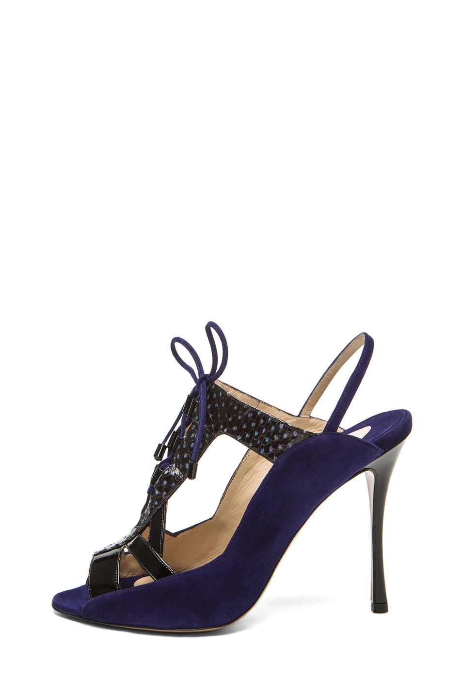 Image 1 of Nicholas Kirkwood Suede Cut Out Lace Up Heel in Black