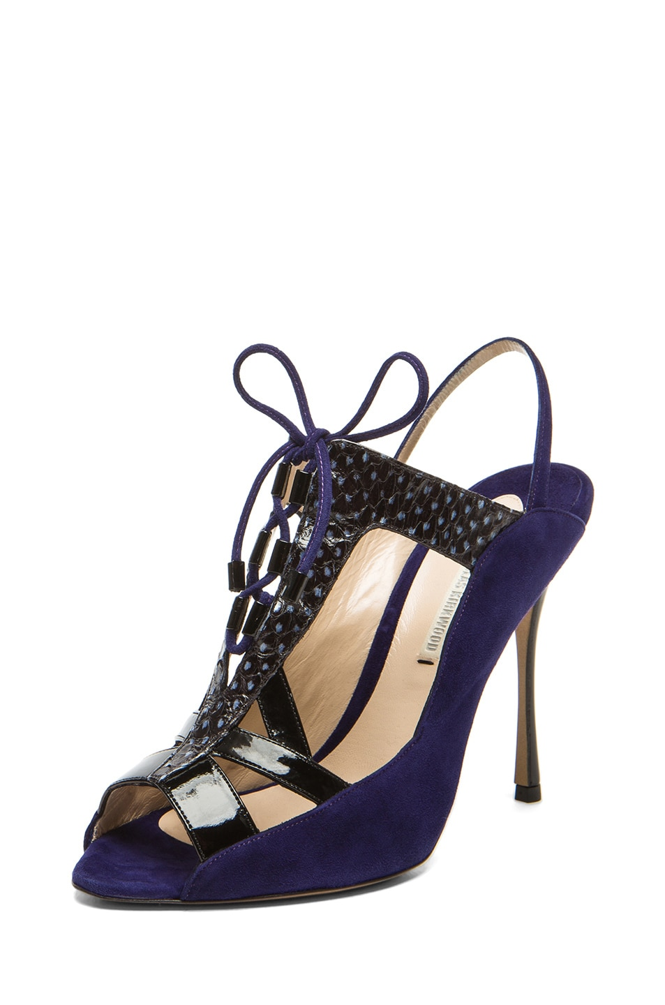 Image 2 of Nicholas Kirkwood Suede Cut Out Lace Up Heel in Black