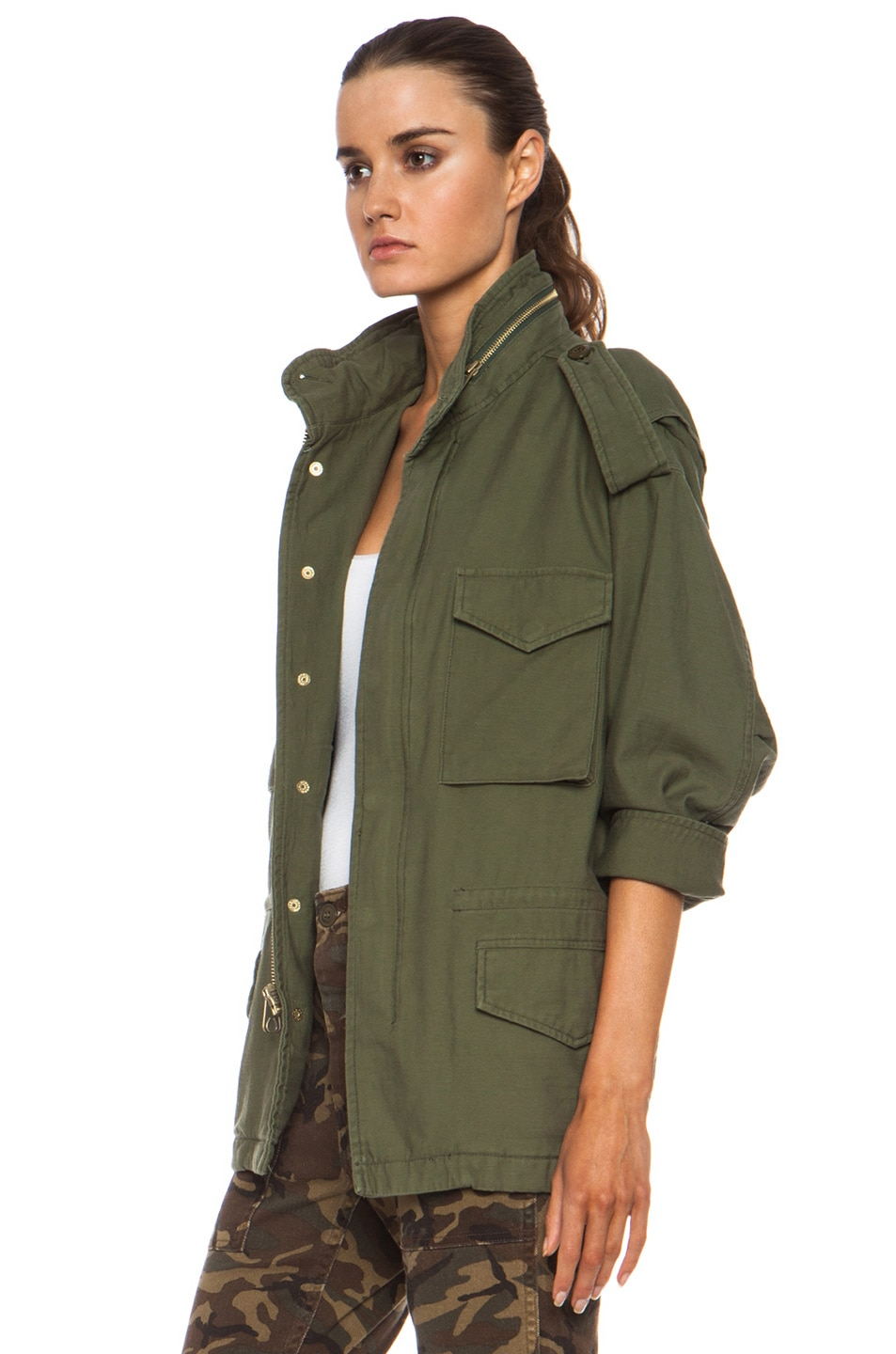 Image 3 of NLST Oversized Cotton M65 Jacket in Olive Drab