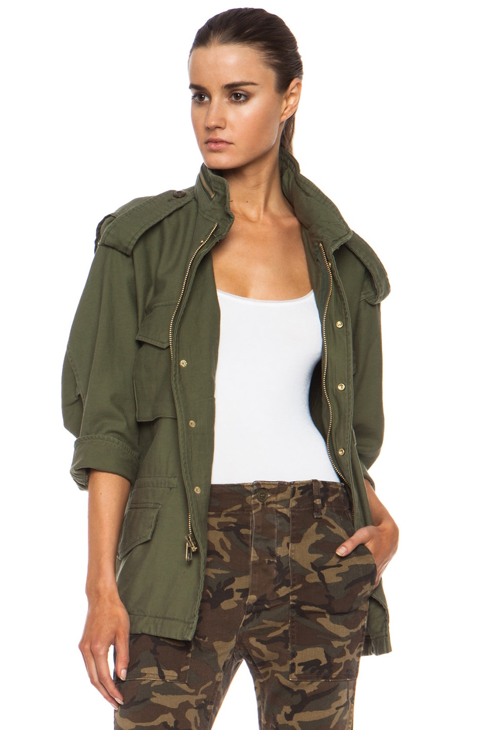Image 4 of NLST Oversized Cotton M65 Jacket in Olive Drab