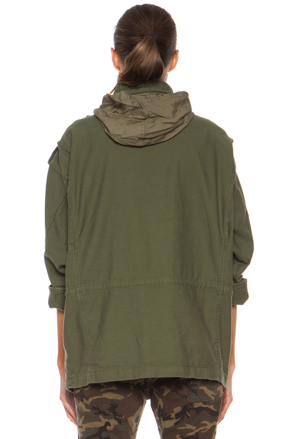 Image 5 of NLST Oversized Cotton M65 Jacket in Olive Drab