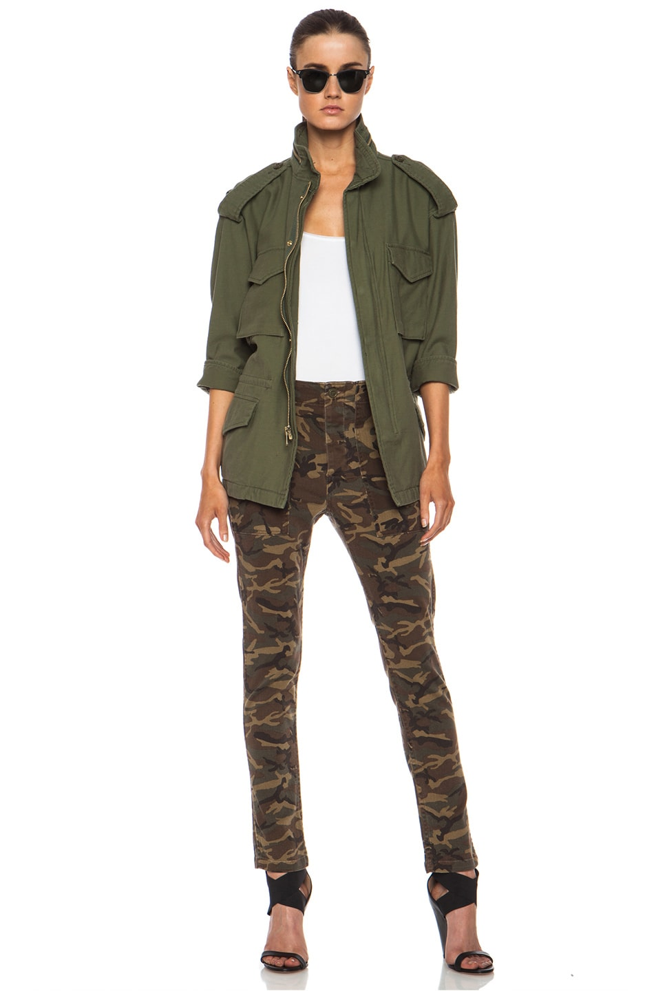 Image 7 of NLST Oversized Cotton M65 Jacket in Olive Drab