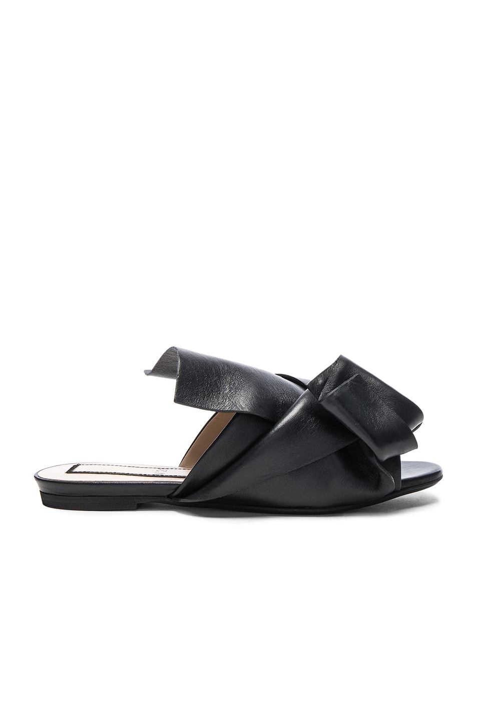 Image 1 of No. 21 Knot Front Leather Sandals in Black Leather