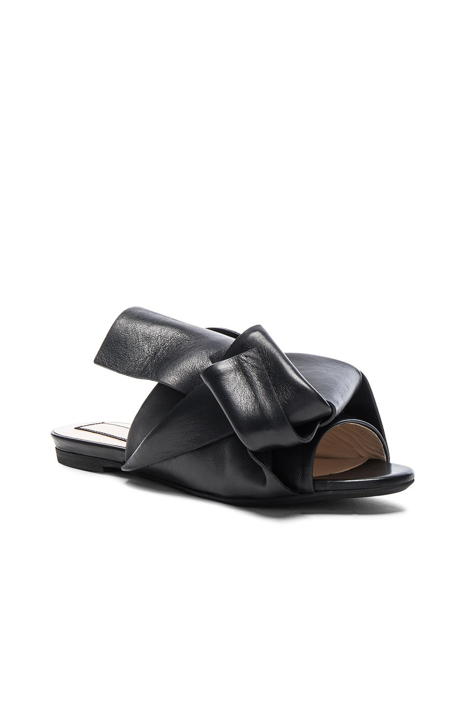Image 2 of No. 21 Knot Front Leather Sandals in Black Leather
