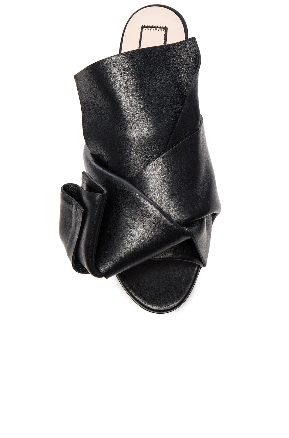 Image 4 of No. 21 Knot Front Leather Sandals in Black Leather