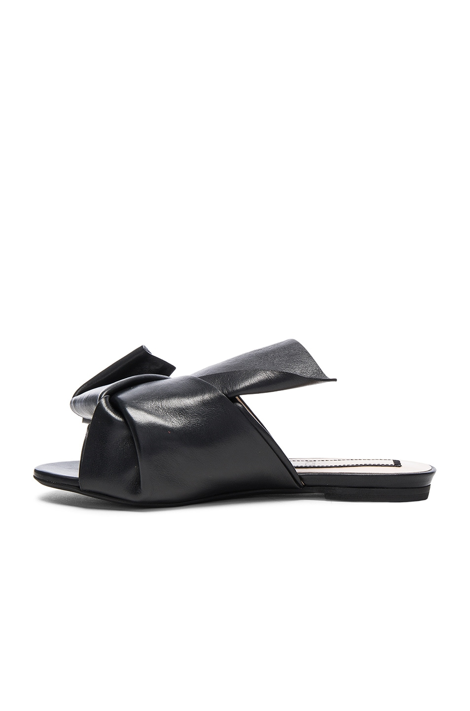 Image 5 of No. 21 Knot Front Leather Sandals in Black Leather
