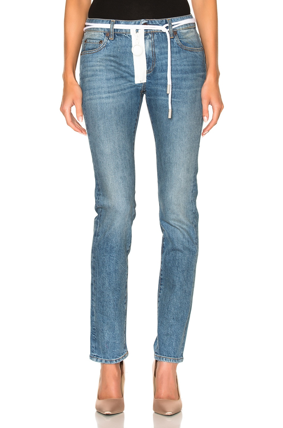 Image 1 of OFF-WHITE for FWRD Skinny Jeans in Vintage Wash
