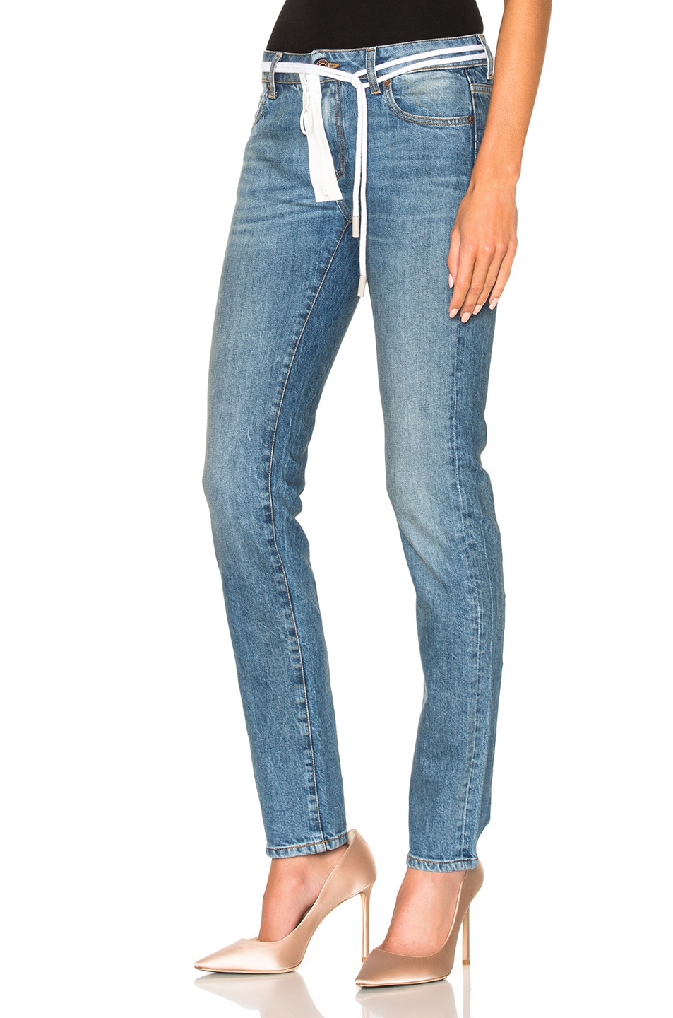 Image 2 of OFF-WHITE for FWRD Skinny Jeans in Vintage Wash
