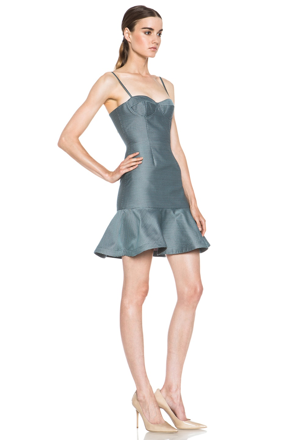 Image 3 of Opening Ceremony Calcite Poly-Blend Dress in Pool Blue