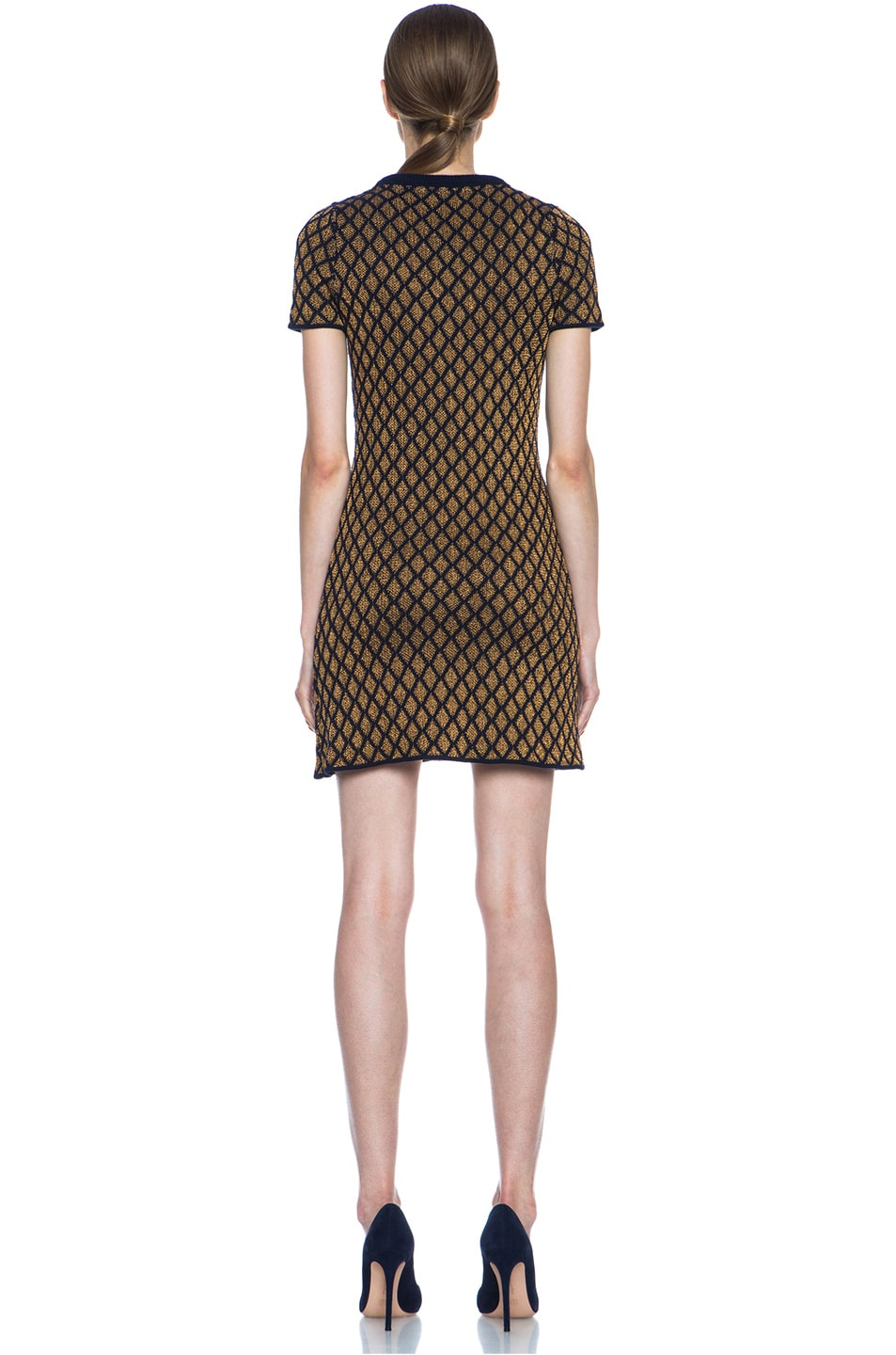 Image 4 of Opening Ceremony Stardust Merino Wool-Blend Shift Dress in Navy & Copper