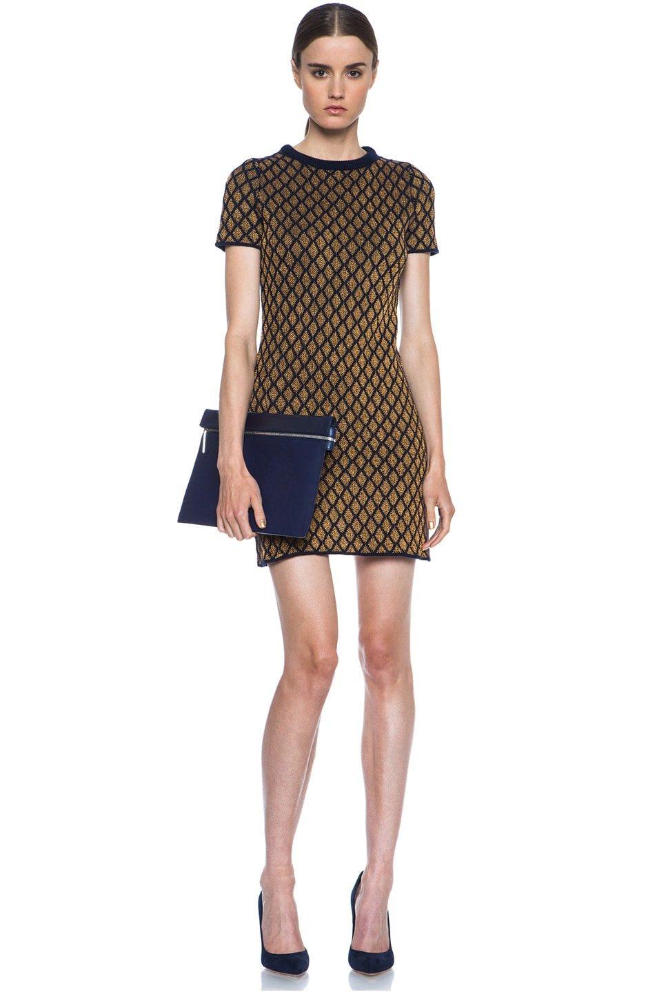 Image 5 of Opening Ceremony Stardust Merino Wool-Blend Shift Dress in Navy & Copper