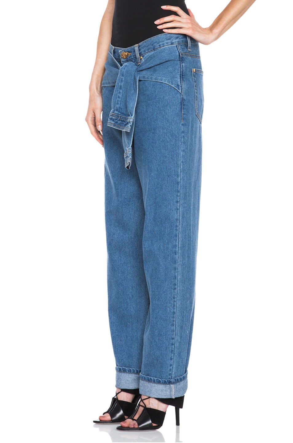 Image 2 of Opening Ceremony x DKNY Faux Wrap Jean in Denim
