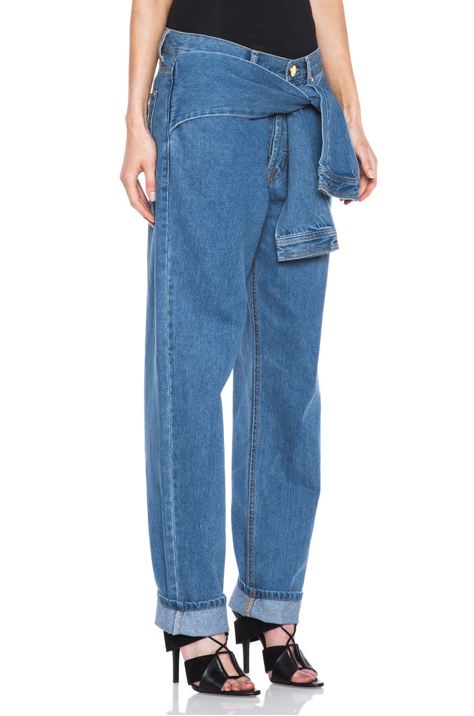Image 3 of Opening Ceremony x DKNY Faux Wrap Jean in Denim