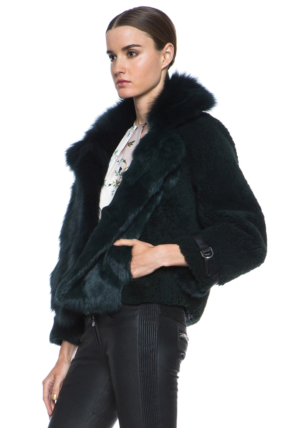 Image 2 of Opening Ceremony Nadia Patchwork Fur Jacket in Hunter