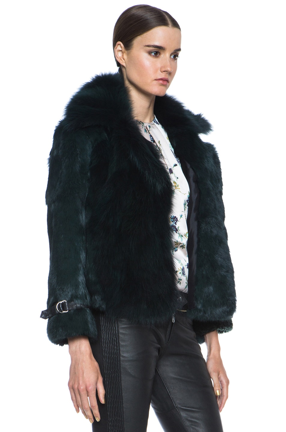 Image 3 of Opening Ceremony Nadia Patchwork Fur Jacket in Hunter