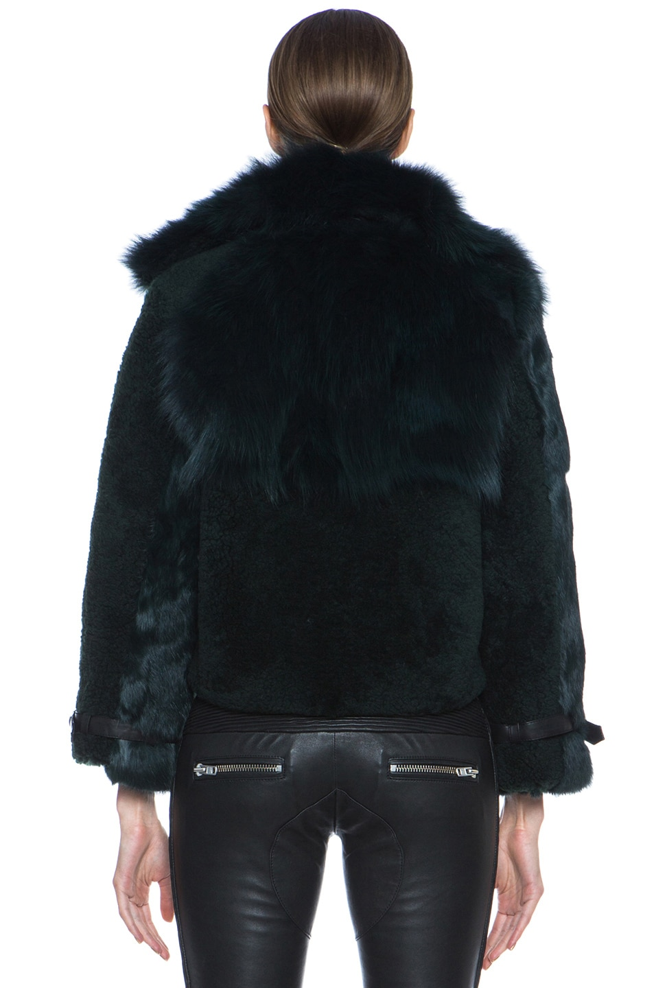 Image 4 of Opening Ceremony Nadia Patchwork Fur Jacket in Hunter
