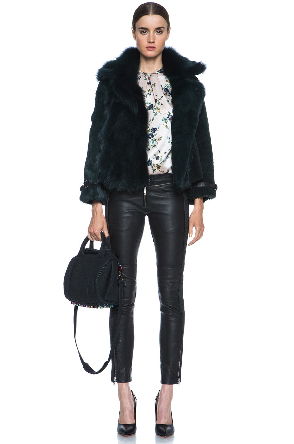 Image 5 of Opening Ceremony Nadia Patchwork Fur Jacket in Hunter
