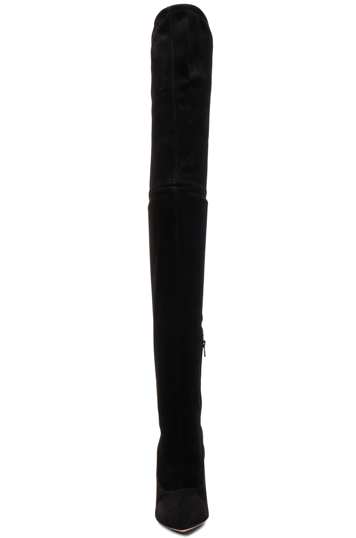 Image 4 of Oscar Tiye Lama Suede Thigh High Boots in Black