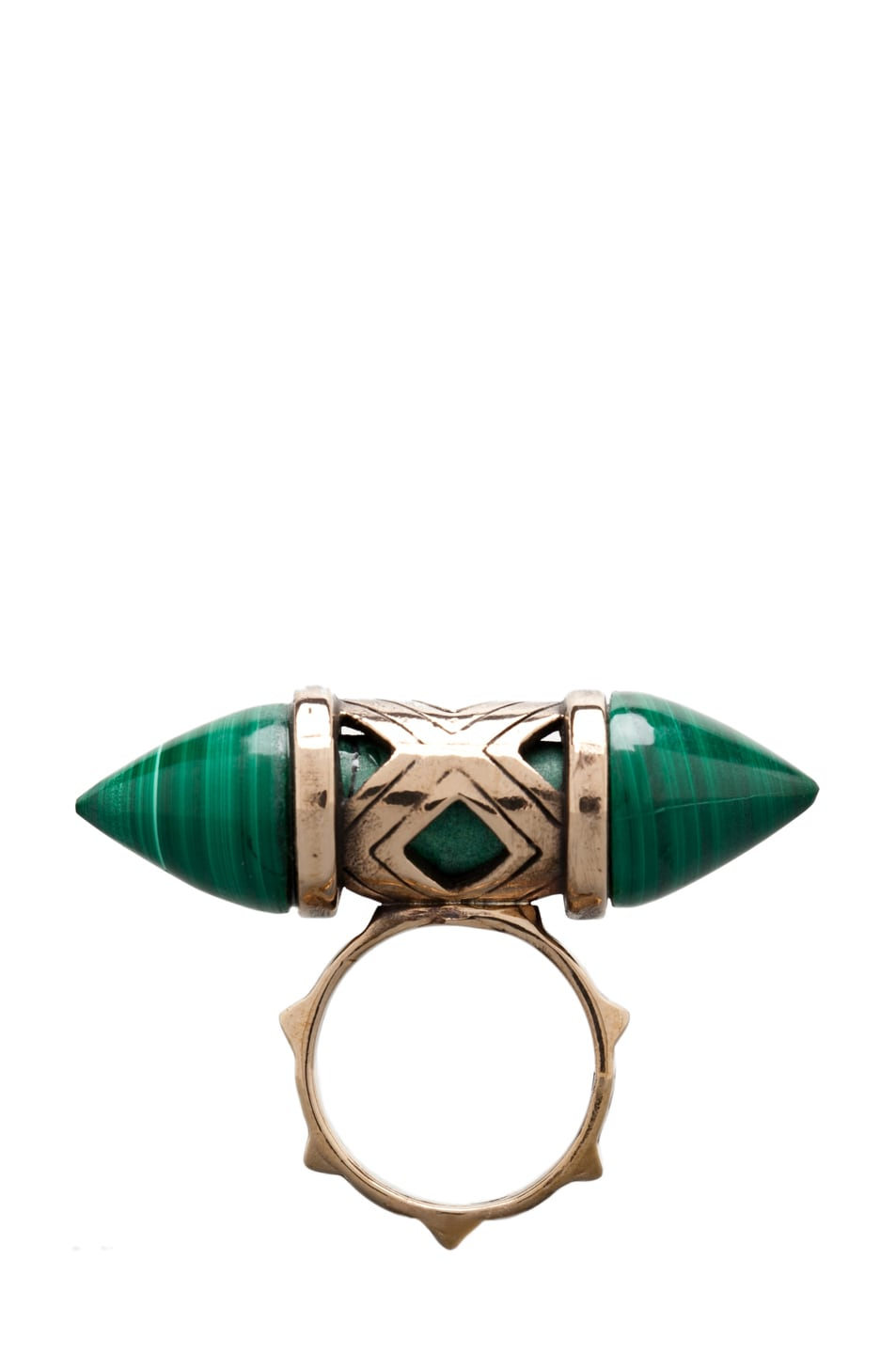 Image 1 of Pamela Love Cutout Ring in Bronze/Malachite