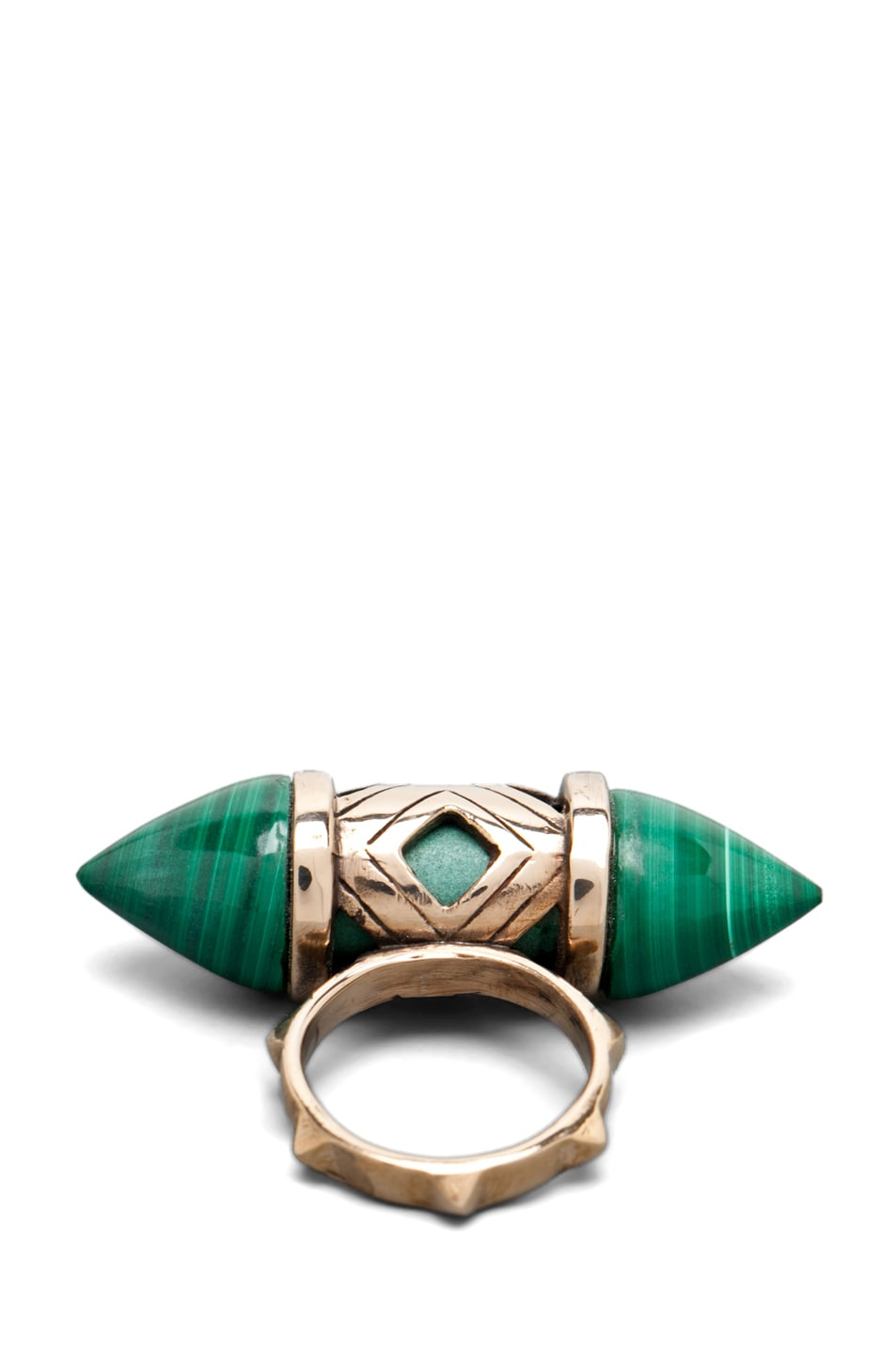Image 4 of Pamela Love Cutout Ring in Bronze/Malachite
