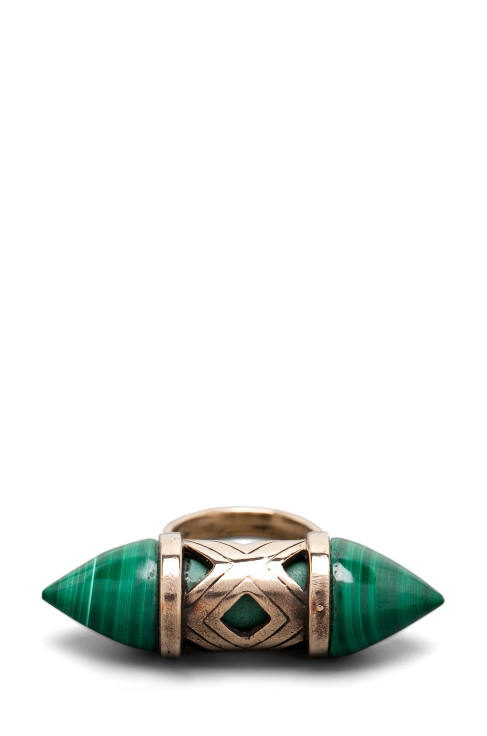 Image 5 of Pamela Love Cutout Ring in Bronze/Malachite