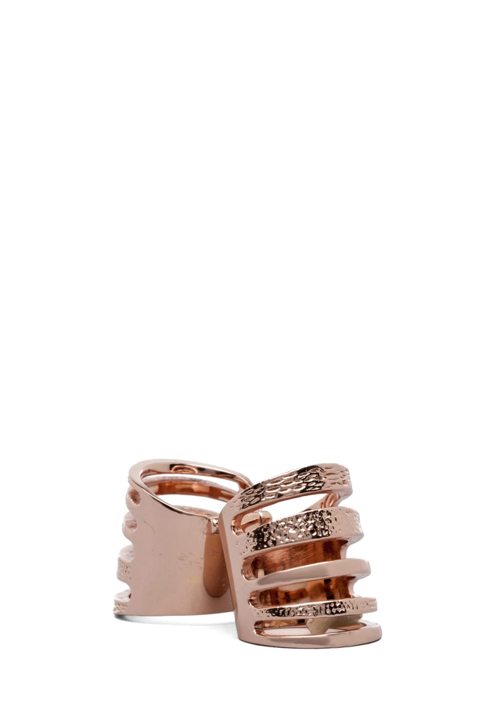 Image 4 of Pamela Love PINK PARTY Exclusive Double Cage Ring in Rose Gold
